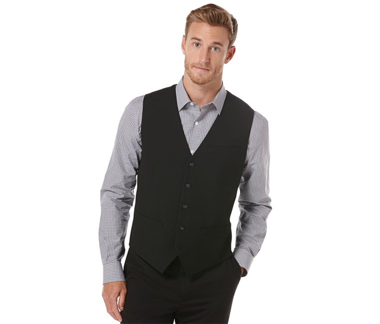 Men's 5 Button Front Vest, Black