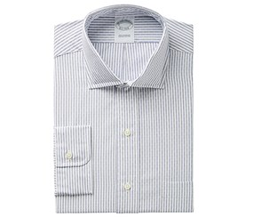 Brooks Brothers Men's Regent Slim-Fit Non-Iron Dobby Stripe Dress Shirt, Blue/White