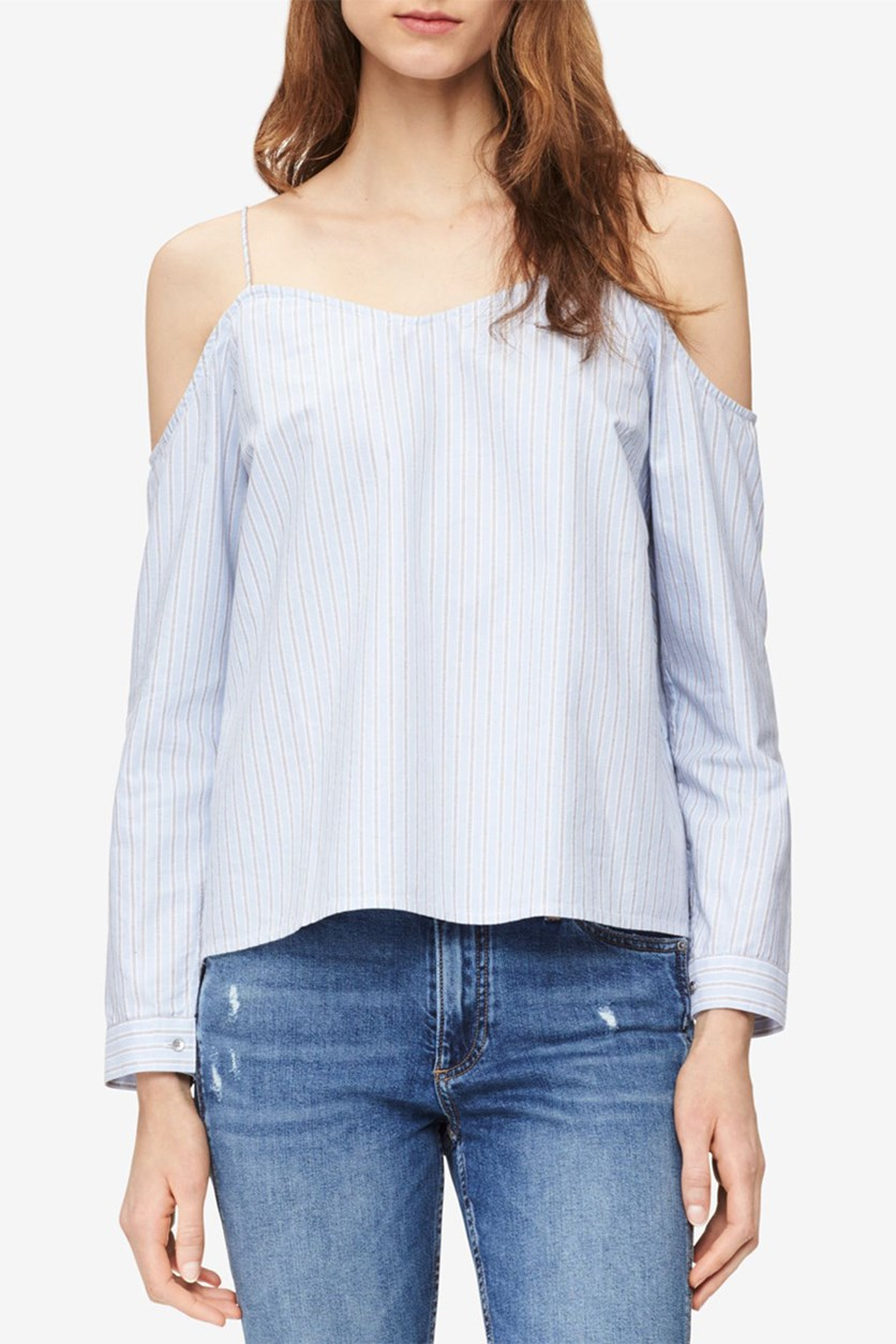 Jeans Cotton Cold-Shoulder Striped Top, Brunnera Blue
