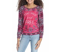 Jessica Simpson Girl's Long Sleeve Graphic Sweatshirt, Raspberry