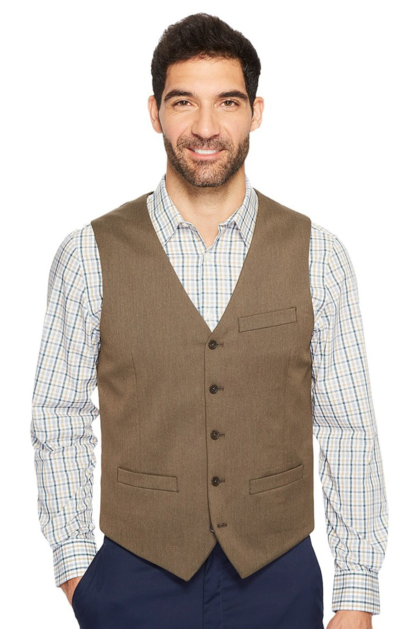 Men's Solid Vest, Rain Drum