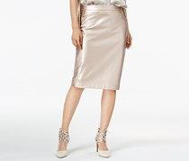 bar III Women's Faux Leather Pencil Skirt, Rose Gold