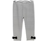 First Impressions Girl's Striped Bow Leggings, Black/White