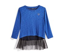 Textured-Knit Top Big Girls, Blue