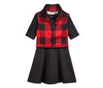 Sequin Hearts 2-Pc. Checked Vest Dress Set, Black/Red