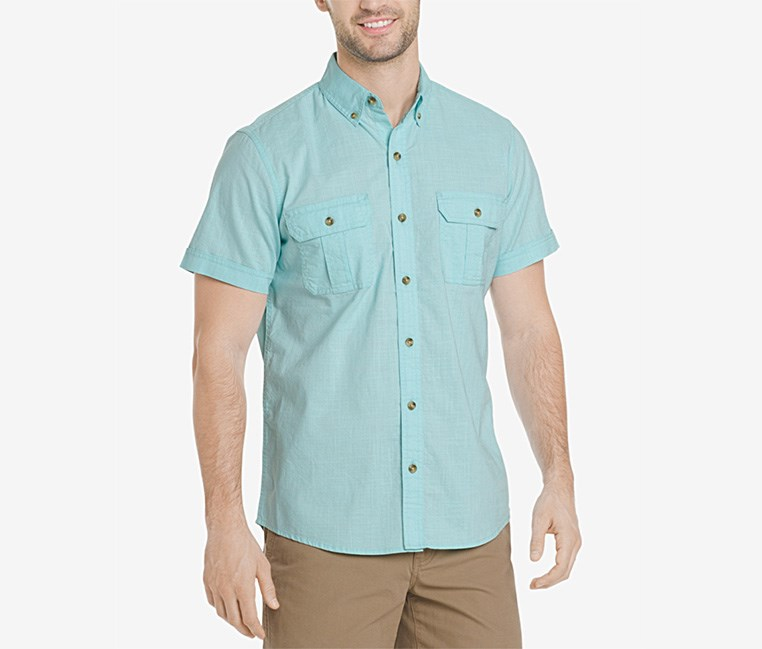 Men's Salt Cove Crosshatch Pocket Shirt, Aqua Splash