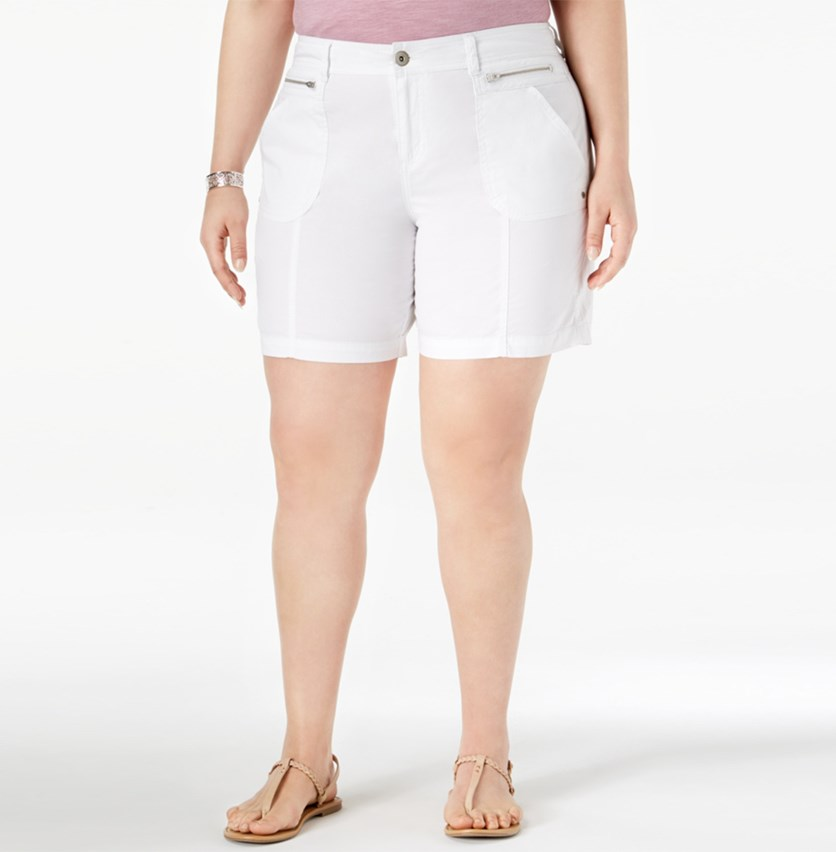 Plus Size Relaxed Shorts, Bright White
