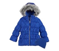 Protection Systems Girl's Bubble Jacket with Faux-Fur Trim, Dazzling Blue