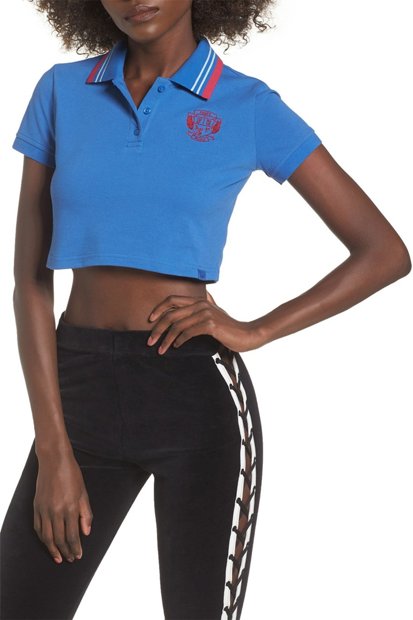 Women's Cropped Polo, Bright Cobalt