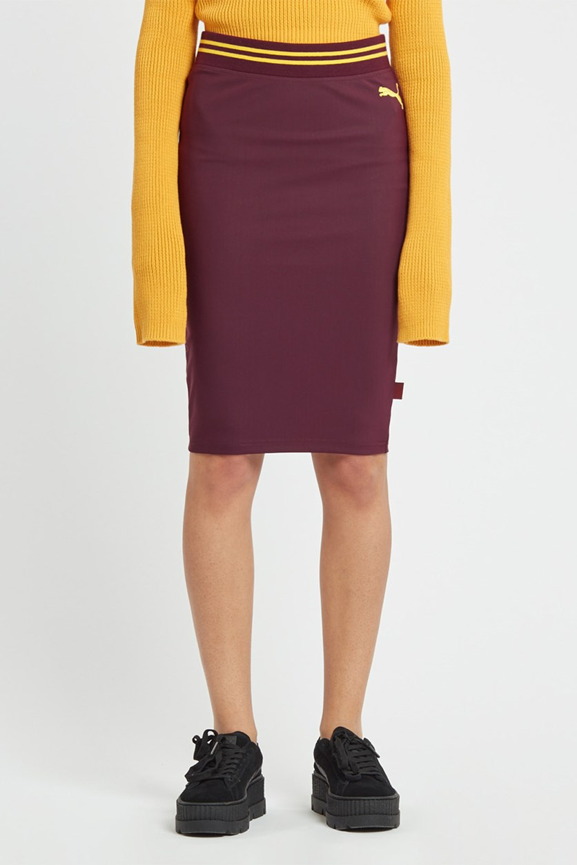 Women's Varsity Pencil Skirt, Tawny Port