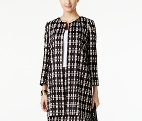 Alfani Women's Petite Plaid Jacket, Black/Beige