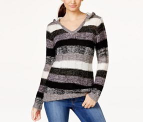 Juniors Women's Hooded Striped Pullover Sweater, Black/Grey