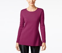 Alfani Ribbed-Trim Peplum Sweater, Iris Glow