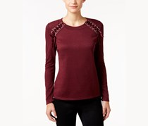 Inc International Concepts Petite Lace-Up Sweater, Port
