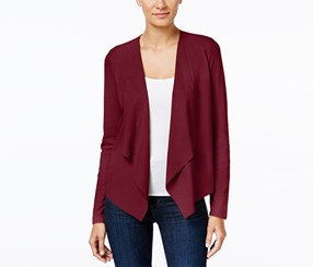 Inc International Concepts Faux-Suede Draped Cardigan, Port