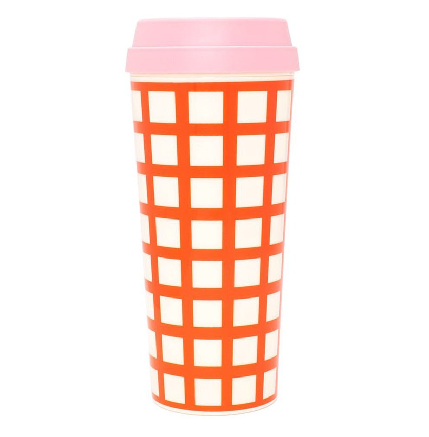 Hot Stuff Lattice Thermal Mug, Pink/Orange