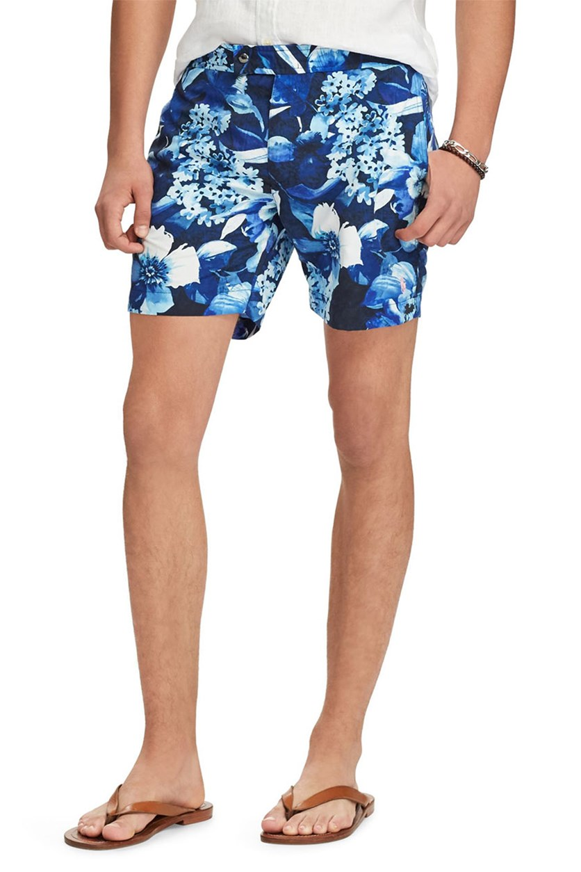 Tropical-Print Swim Trunks, Blue