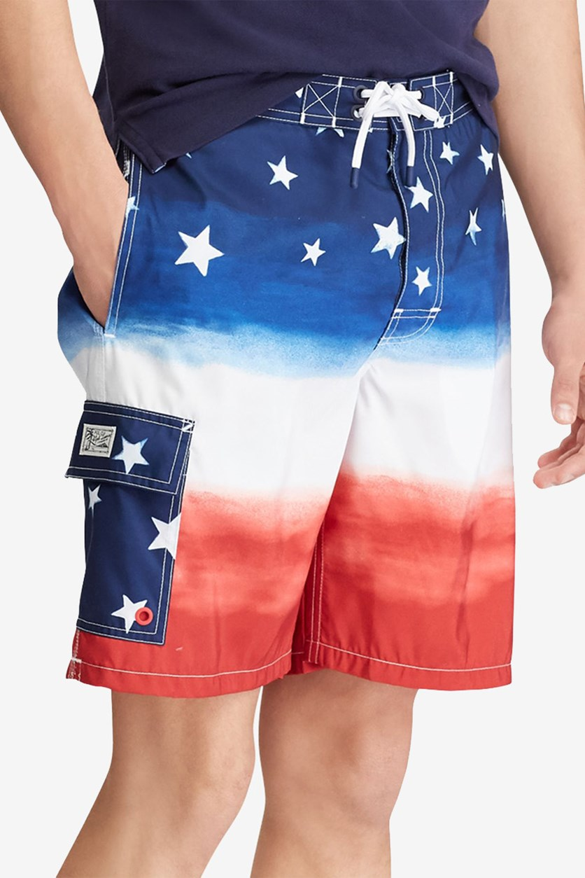 Men's Big & Tall Kailua Americana Swim Trunks, Red/Blue/White