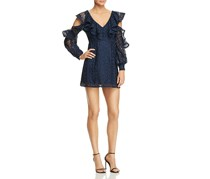 French Connection Cold-Shoulder Lace Dress, Utility Blue