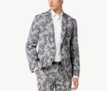 INC Men's Slim Fit Camo Jacquard Blazer, Black/White