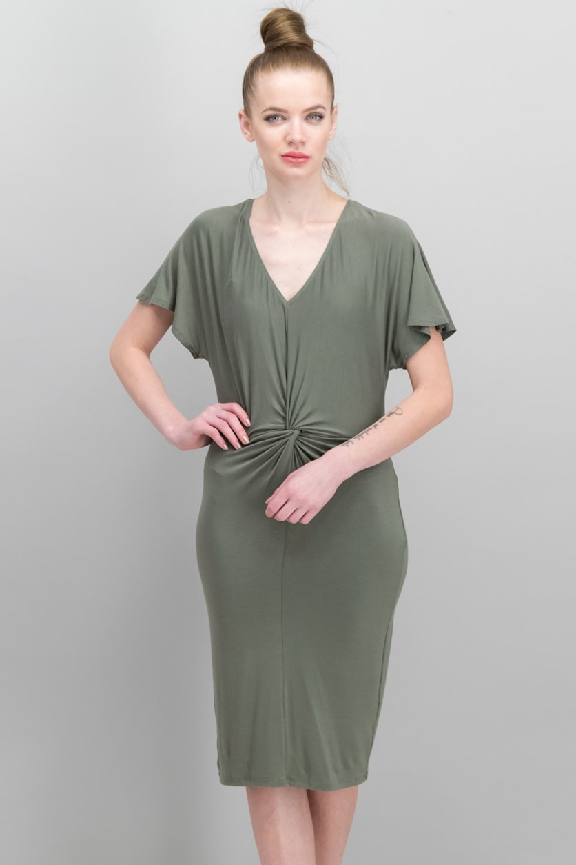 Twist-Front Flutter-Sleeve Dress, Dusty Olive