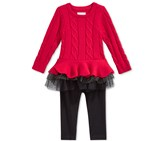 First Impressions Girls 2-pc. Cable-knit Tutu Tunic & Leggings Set, Red/Black