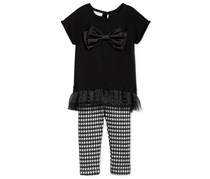 First Impressions 2-Pc. Bow Sweater & Leggings Set, Black/White