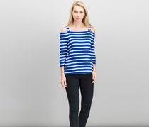 Inc International Concepts Striped Cold-Shoulder Top, Bright Blue