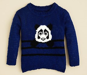 Aqua Girl's Panda Intarsia Sweater, Blue/Black