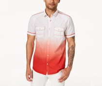 INC Ombre Short-Sleeve Shirt, Hot Sauce