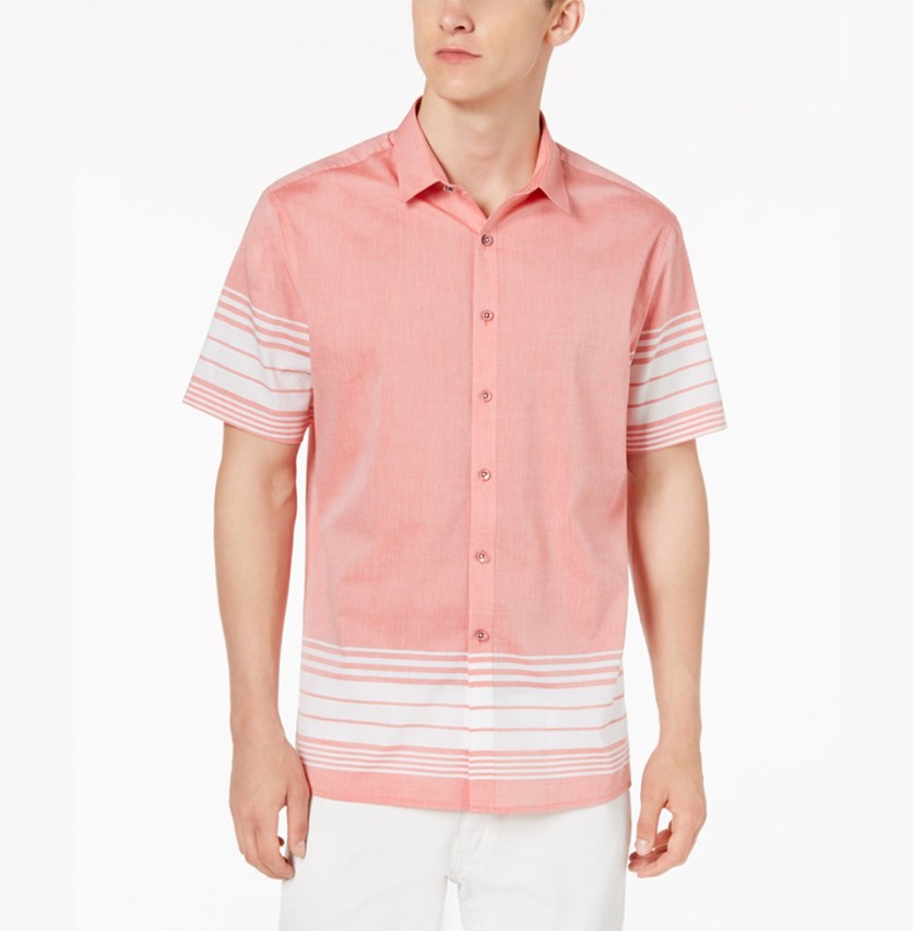 International Concepts Men's Striped Cotton Shirt, Sauce Combo