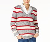 Tommy Hilfiger Women's Lillian Striped V-Neck Sweater, Grey/White/Red