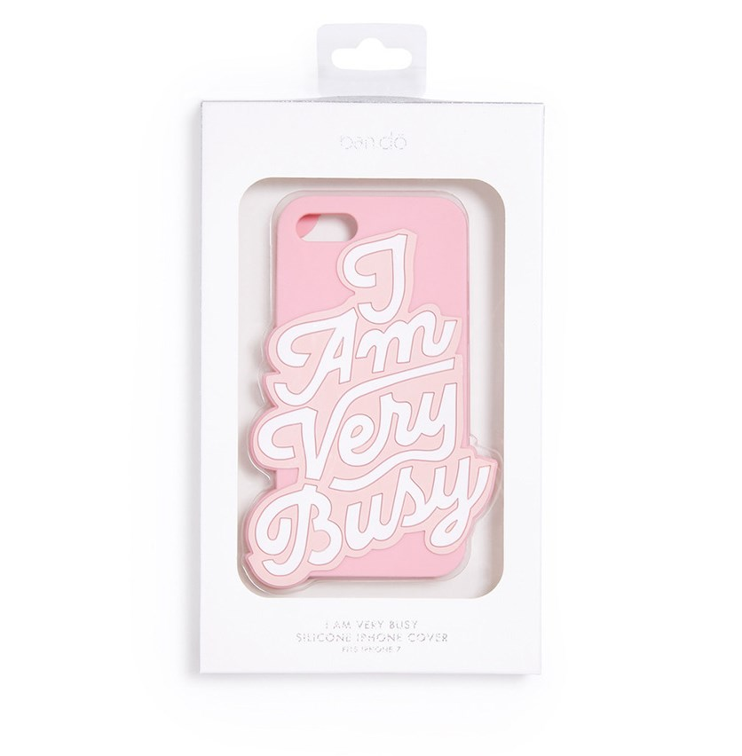 Silicone Iphone 7 Case, I Am Very Busy, Pink