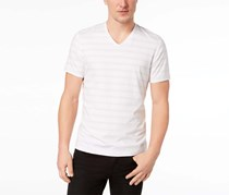 International Concepts Mens Stretch V-Neck Striped T-Shirt, White Stripe