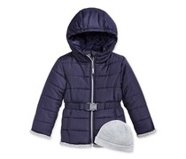 S. Rothschild Belted Puffer Jacket with Hat, Navy Blue