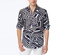 Inc International Concepts Men's Shattered Abstract-Print Shirt, Basic Navy