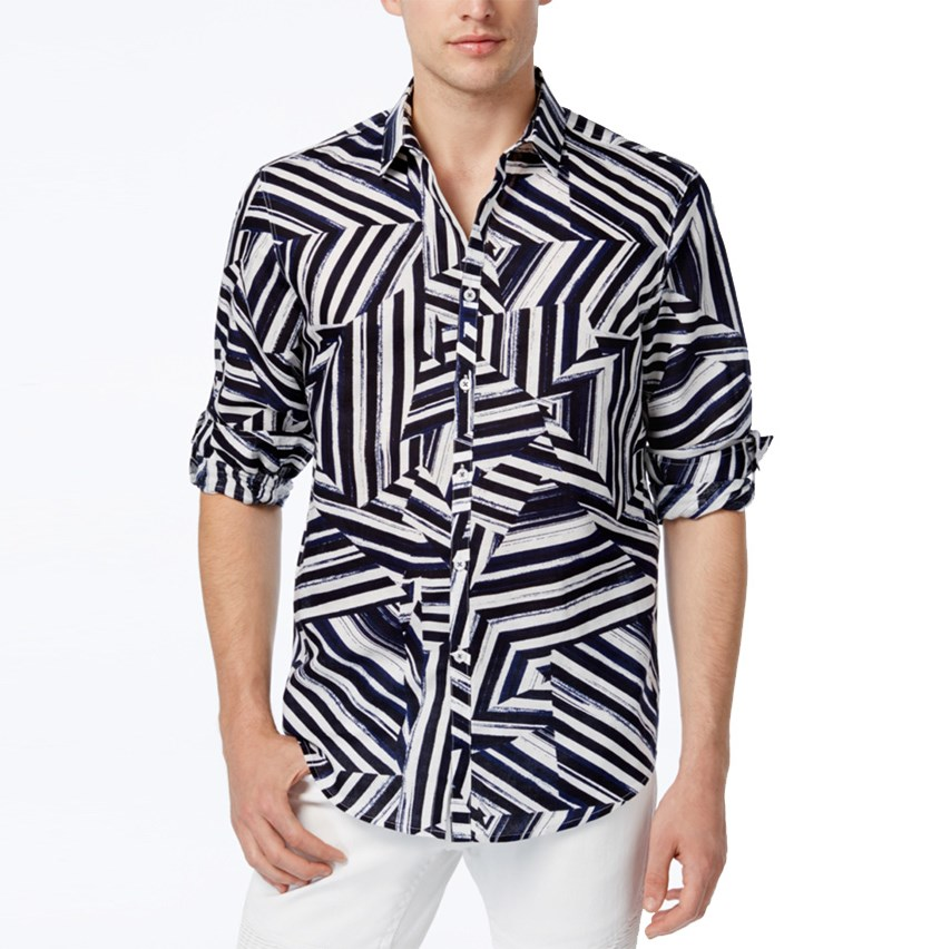 International Concepts Men's Shattered Abstract-Print Shirt, Basic Navy