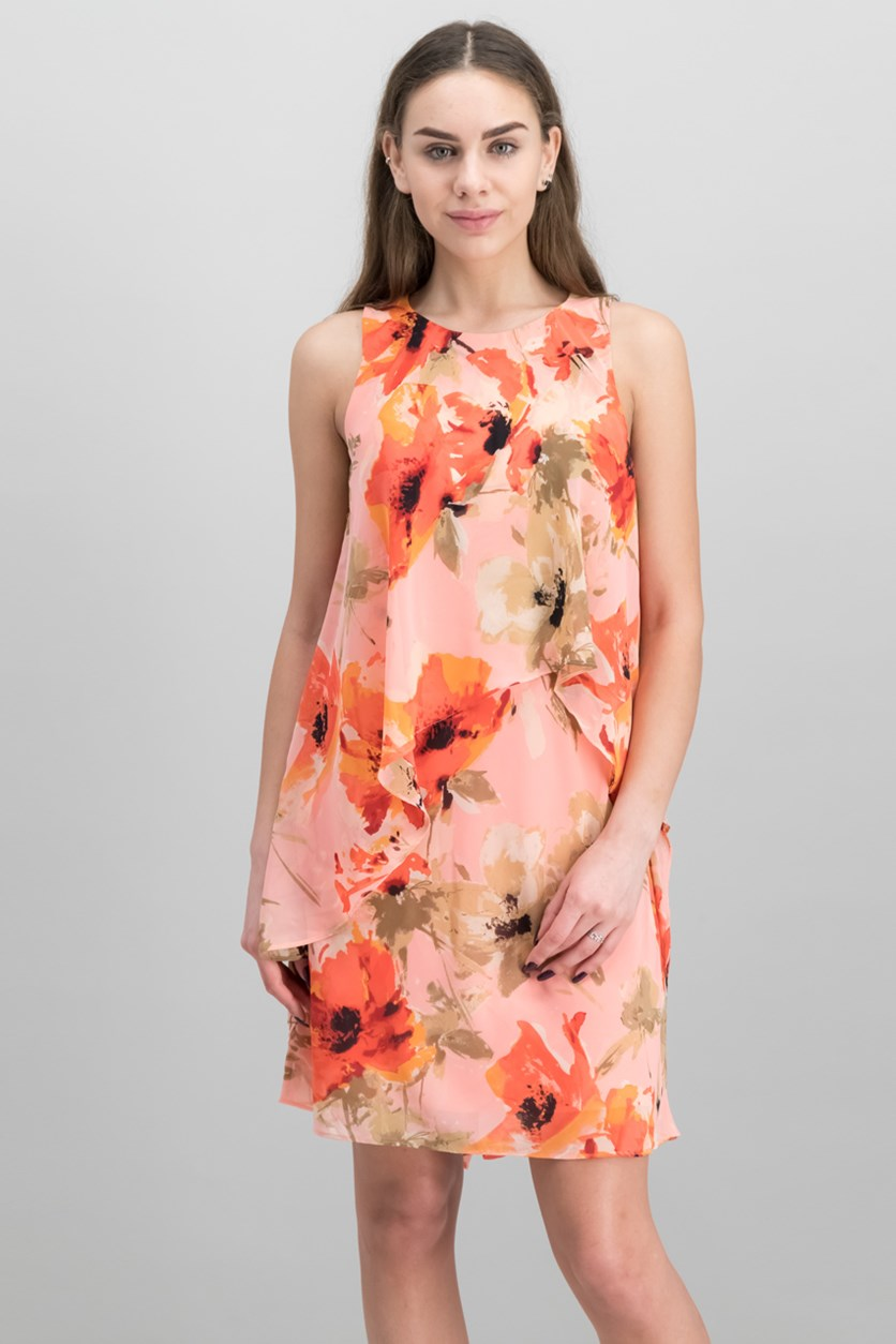 Petite Floral-Print Georgette Dress, Coral Combo