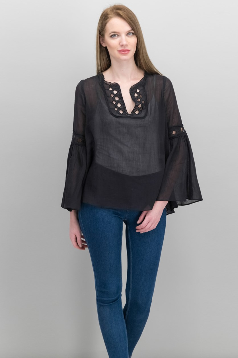 Women Cotton Eyelet Bell-Sleeve Blouse, Black