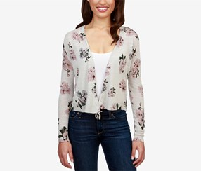 Lucky Brand Women's Floral-Print Tie-Front Cardigan, Grey