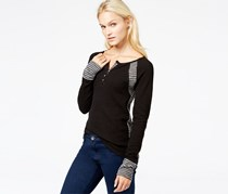 Lucky Brand Women's Contrast-Panel Thermal Top, Black
