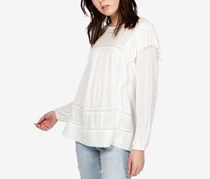 Lucky Brand Embroidered Ruffled Top, Marshmallow