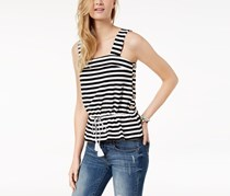 Lucky Brand Cotton Button-Detail Drawstring, Black Stripe