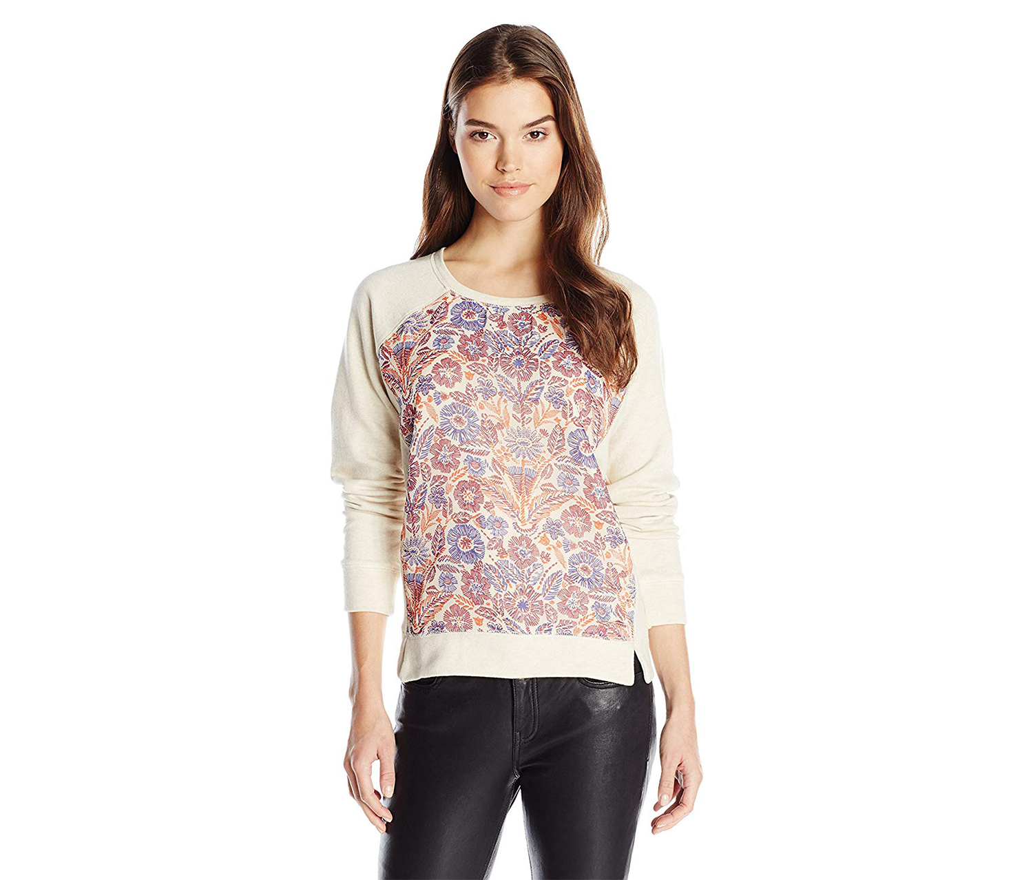 Lucky Brand Women's Bright Floral Pullover Sweater, Beige