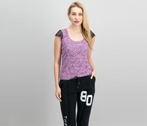 Guess by Marciano Women's Lace Sleeve Top, Purple/Black