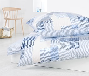 Reversible Percale Duvet Set, 140 x 200 cm, White/Blue