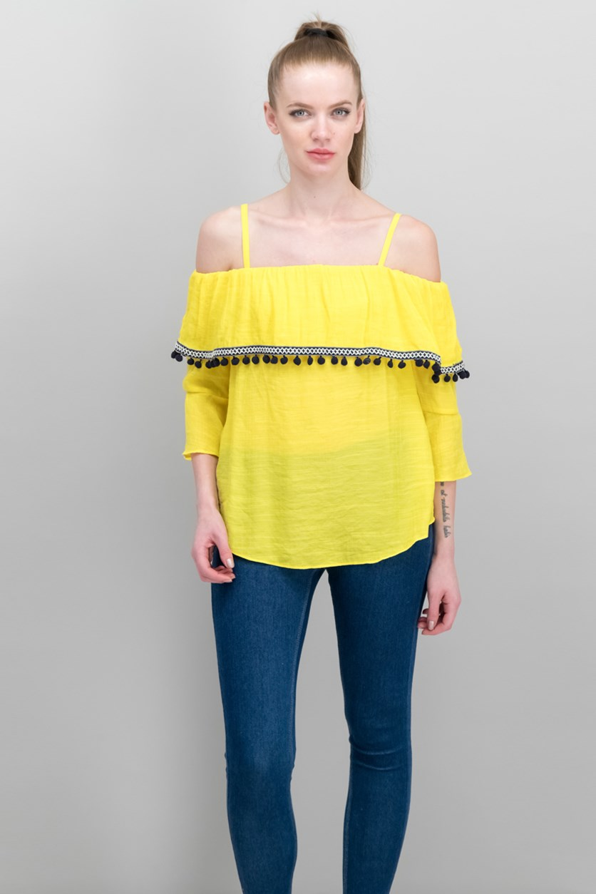 Juniors' Off-The-Shoulder Pom Pom Top, Yellow