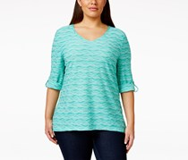 Jm Collection Plus Size Wave-Textured Jacquard Blouse, Mermaids Tail