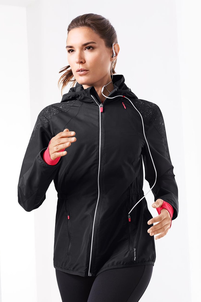 Women's Wind Protection Running Jacket, Anthracite