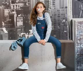 Girl's Dungarees, Navy Blue